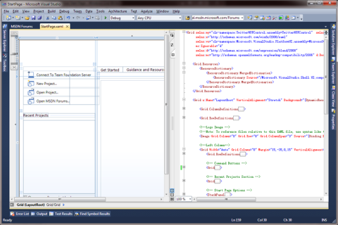 Visual Studio StartPage XAML source