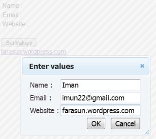 jQuery UI Dialog Example